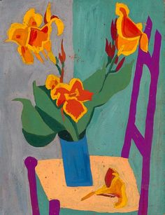 stilllifequickheart: William H. Johnson Still Life with Chair and Flowers 1944-45