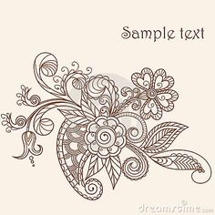 Hand-Drawn Abstract Henna Mehndi Abstract Flowers and Paisley - pastel greeting card