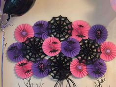 Check out the fun paper fan backdrop at this Vampirina Birthday Party! It's a great Halloween party decoration too!! See more party ideas and share yours at CatchMyParty.com #catchmyparty  #partyideas #cookies #vampirinaparty #vampirina #vampirinabackdrop #halloween #halloweenbacldrop #vampirinapartydecorations #halloweenpartydecorations #partydecorations