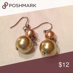 Lucky Brand Fashion Earrings Two tone gold and rose gold pearl earrings, dangle for about an inch Lucky Brand Jewelry Earrings