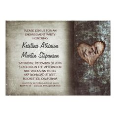 Tree rustic engagement party invitations