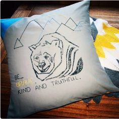 Mustardpots and Butterscotch. Hand cut Lino print , hand embroidered one of a kind throw cushion. Throw Cushions