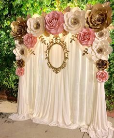 A beautiful BACKDROP made for a special event.Thank you for trusting us! Engagement Party Decorations, Backdrop Decorations, Birthday Decorations, Flower Decorations, Backdrops, Paper Flower Decor, Paper Flower Backdrop, Paper Flowers, Girl Baby Shower Decorations