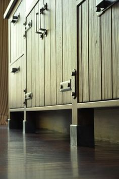 Bryant Street Residence - LEED Platinum Rated Spanish Courtyard, Tall Cabinet Storage, Door Handles, Kitchens, Street, Outdoor Decor, Furniture, Home Decor, Cuisine