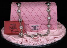 Pink Chanel Handbag Cake by catrulz Shoe Box Cake, Shoe Cakes, Cupcake Cakes, Cupcakes, Girly Cakes, Fancy Cakes, Pink Cakes, Beautiful Cakes, Amazing Cakes