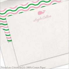 Letterpress Whale Flat Notecards