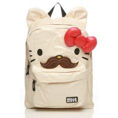 Hello Kitty Mustache Backpack with Ears $45 #hellokitty #backpack #mustache