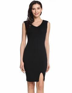 Womens V-Neck Sleeveless Split Front Cocktail Bodycon Tank Dress