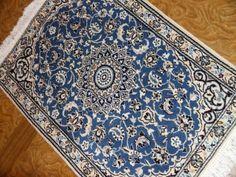 ペルシャンブルー玄関マットペルシャ絨毯58060、イラン輸入手織りマットマンション様