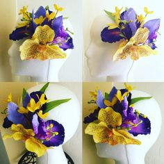 Purple Iris and yellow vanda orchid tiki by ThePetalHutShop