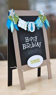 Julie's Japes - An Independent Stampin' Up! Demonstrator in the UK: The cutest card ever???? Chalkboard easel card  *sorry, I would've pinned from direct link but I'm doing this on my phone. I'll fix this later.
