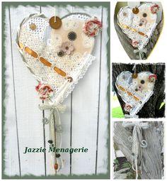 Wire Heart Boho Gypsy Shabby Whimsical pears by JazzieMenagerie