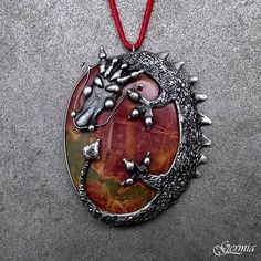 Year of the Dragon - Chinese Style Dragon, Picasso Jasper Pendant (Made from pewter / tin, using the Tiffany Technique - lead free)