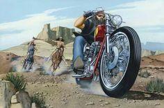"""Wine Country / Style Biker"" - Originals - All Artwork - David Mann - Motorcycle Art Motorcycle Posters, Motorcycle Art, Bike Art, Rockabilly, David Mann Art, Hd Vintage, Harley Davidson Logo, Easy Rider, Cycling Art"