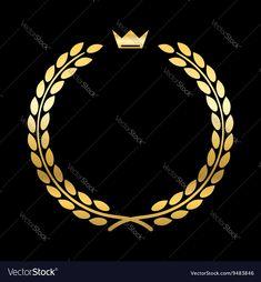 Gold laurel wreath with crown Golden leaf emblem Vintage design isolated on blac… – Laurel Wreath İdeas. Olive Tattoo, Crown Drawing, Tiger Illustration, Golden Circle, Circle Labels, Leaves Vector, Angel Pictures, Golden Leaves, Laurel Wreath