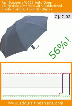 RainStoppers W003 Auto Open Collapsible Umbrella with Rubberized Plastic Handle, 42-Inch (Black) (Sports). Drop 56%! Current price C$ 7.03, the previous price was C$ 15.93. https://www.adquisitiocanada.com/rainstoppers/w003-auto-open