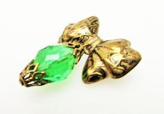 Gold Brass  Bow  Brooch with  dangle green by serendipitytreasure