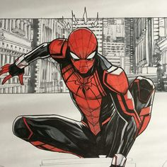 Spider-man redesign by Dan Mora Marvel Art, Marvel Dc Comics, Marvel Heroes, Marvel Avengers, Spiderman Suits, Spiderman Art, Amazing Spiderman, Spiderman Drawing, Spiderman Cosplay