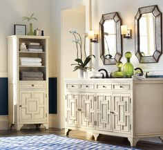 The York Collection is a modern take on 16th-century style. Love the contemporary feel of this bathroom! | HomeDecorators.com