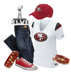 "I NEED THIS ENTIRE ENSEMBLE!!! ""Superbowl XLVII Outfit - Go 49'ers!"" by trinavokes on Polyvore"