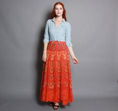 Vintage 70s Indian WRAP SKIRT / Ethnic Batik Print Maxi