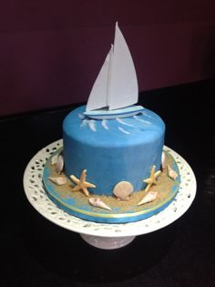 Sailboat cake, Father's Day cake Nautical Birthday Cakes, Nautical Cake, 40th Birthday Cakes, Male Birthday, Nautical Wedding, Sailboat Cake, Fathers Day Cake, Birthday Cake Pictures, Beach Cakes