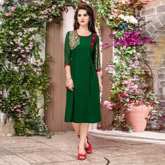 3cdff2b9d Buy Green Georgette Embroidered Partywear Kurti at Rs. 1649 - latest  Embroidered Kurtis for. Peachmode