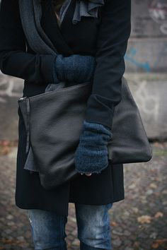 denim, black, over sized leather clutch