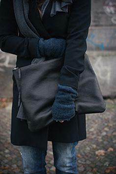 Oversized Leather Clutch Black