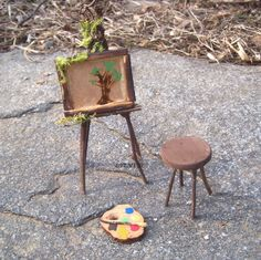 Accessory ARTIST EASEL Gardener Gift Miniature Woodland Fairy Furniture Flower Pot Decor on Etsy