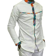 Fashion Mens Africa Festive Clothing Ankara Clothes African Print Tops Long Sleeve print and white Cotton patchwork T-shirt African Shirts For Men, African Attire For Men, African Print Fashion, Africa Fashion, African Wear, African Suits, African Style, African Print Shirt, African Print Dresses