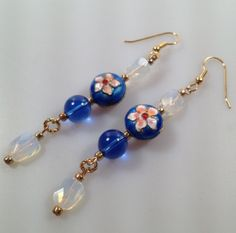 Cloisonne and Opalescent Glass Pierced Earrings by InspiredByAmber, $22.00