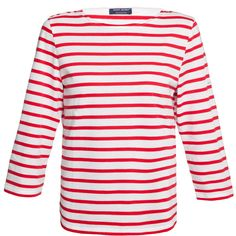 Saint James Galathee White And Red Striped Shirt ($95) ❤ liked on Polyvore featuring tops, t-shirts, shirts, red, white shirt, nautical t shirts, white t shirt, white 3/4 sleeve shirt and cotton t shirt