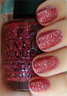 "Two coats OPI ""Excuse Moi! the pink glitter polish from the OPI The Muppets Collection! Fancy Nails, Love Nails, How To Do Nails, Pretty Nails, My Nails, Glam Nails, Pink Nails, Holiday Nails, Christmas Nails"