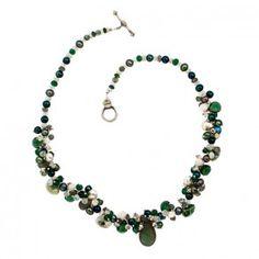 LAURA GIBSON JEWELRY - Silver, Labradorite, Sillimanite Sapphire, Rainbow Moonstone, Solar Quartz, Green Hydro Quartz Necklace