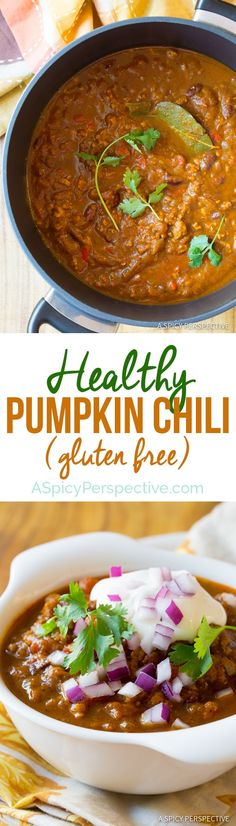 We love this amazing Pumpkin Chili Recipe! Zesty earthy chili made with pumpkin pure for an unexpected richness that beats tomatoes. Chili Recipes, Soup Recipes, Vegetarian Recipes, Dinner Recipes, Cooking Recipes, Healthy Recipes, Healthy Soups, Dinner Ideas, Chicken Recipes