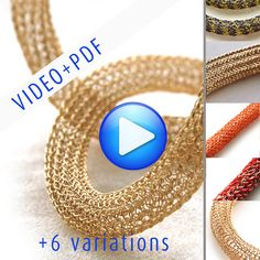 ONLINE Video tutorial for YoolaTube Plus PDF tutorial - how to crochet a wire gold necklace using a crochet hook and wiresWood DRAW PLATE, wooden drawing plate, jewelry making tool, Viking knitting and ISK yoola tube necklace toolYoolaTube with varia Crochet Motifs, Wire Crochet, Crochet Patterns, Crochet Hooks, Diy Jewelry Videos, Jewelry Making Tools, Jewelry Ideas, Wire Wrapped Jewelry, Wire Jewelry