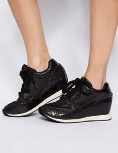 I'm kind of diggin' these python leather wedge sneakers. Just bought me a pair! Wedge Sneakers Style, Black Wedge Shoes, Black Wedges, All Black Sneakers, Shoes Sneakers, Crazy Shoes, New Shoes, All About Shoes, Trendy Accessories