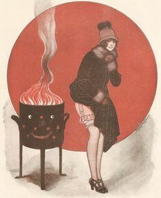 Plat du jour - Poele Feu Jeune Fille  Dessin Kuhn Regnier  Gravure Ancienne 1925