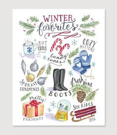 Lily & Val – Winter Favorites Print - Illustrated Christmas Art - Illustrated Art - Holiday Decor - Christmas Decor - Copic Art