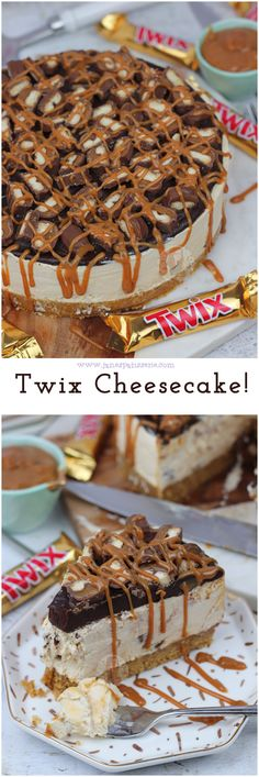 A No-Bake Biscuit Base with a Caramel Twix Cheesecake Filling Chocolate Ganache top and oodles more Twix! The post Twix Cheesecake! A No-Bake Biscuit Base with a Caramel Twix Cheesecake Filling appeared first on Win Dessert. Twix Cheesecake Recipe, No Bake Cheesecake Filling, Chocolate Cheesecake Recipes, Pumpkin Cheesecake, Caramel Cheesecake, Cheesecake Desserts, Twix Recipe, Desserts Caramel, Homemade Cheesecake
