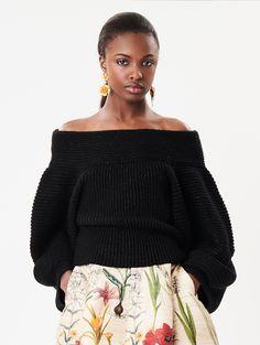 Oscar de la Renta Off-The-Shoulder Wool-Blend Pullover Off Shoulder Blouse, Off The Shoulder, Kylie Lips, Red S, Cute Woman, Wool Blend, Lace Skirt, Ready To Wear, Glamour