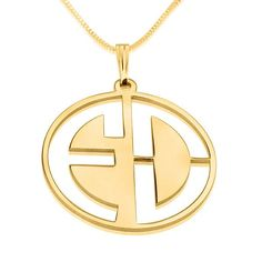 24k Gold-Plated Circle Two Initials Cut Thru Monogram Necklace