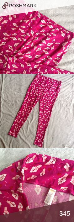 "Lularoe TC Leggings Ice Cream Cone Sprinkles Print Excellent used condition. Tall & Curvy (plus size) Leggings by Lularoe with solid pink background and fun ice cream cone/sprinkle novelty print. Hard to find ""unicorn"" print. Buttery soft. No rips, stains, tears. Size TC (women sizes 10-20), see photos for measurements. LuLaRoe Pants Leggings"