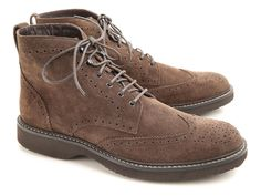 Hogan men's brogues ankle boots in dark brown suede - Italian Boutique €208
