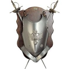 cc3d99124b Heraldic Eagle Breastplate with Two Decorative Swords Wall Plaque
