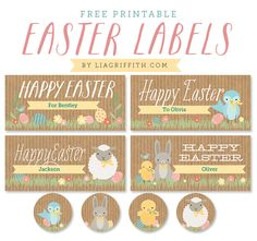 Free Kids Easter Printable labels by @lia griffith