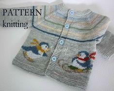 Knitting pattern Baby cardigan - Penguins - My Store Pattern Baby, Baby Knitting Patterns, Top Pattern, Baby Patterns, Embroidery Stem Stitch, Pull Bebe, Thick Yarn, Baby Vest, Stockinette