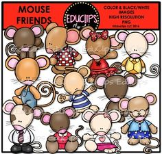 This is a set of images connected with Mouse Friends  The images included in this set are: a selection of mice, some dressed in bright clothing.  This set contains all of the images shown.   22 images (11 color and the same 11 in B&W)  Images saved at 300dpi in PNG files.