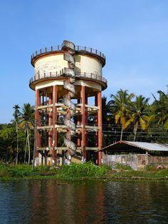 Water tower, Kerala Backwaters Tour, Alappuzha (Alleppey), Kerala, India. © 2016 a kiwindian couple.